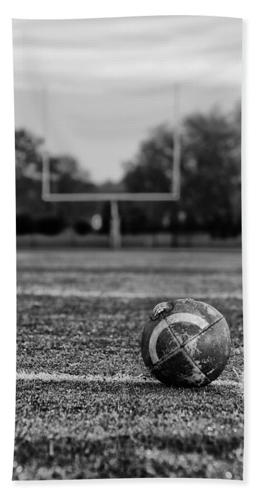 Football Bath Sheet featuring the photograph Football In Black And White by Bill Cannon