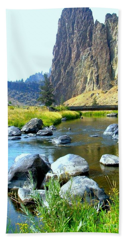 Bridge Hand Towel featuring the photograph Footbridge At Smith Rock by Liz Snyder