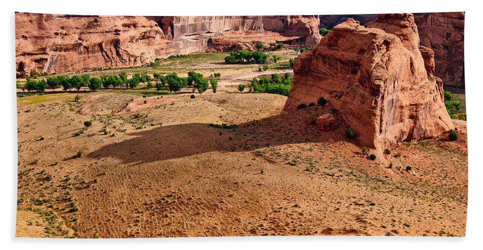 Footprints In The Sand Hand Towel featuring the digital art Footprints In The Sand Canyon Dechelly by Bob and Nadine Johnston