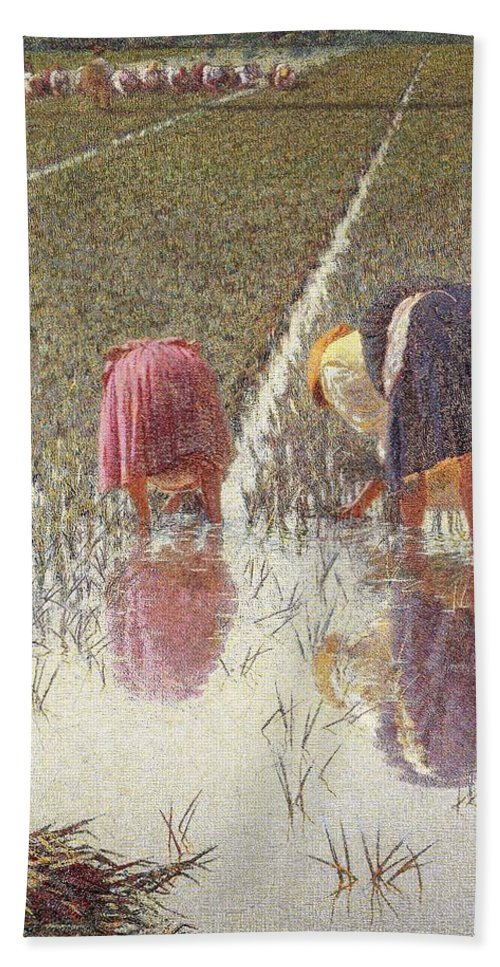 Painting; 19th Century Painting; Europe; Italy; Morbelli Angelo; Farm Work; Paddy Field; Rice Weeder; Realism Bath Sheet featuring the painting For Eighty Pennies by Angelo Morbelli