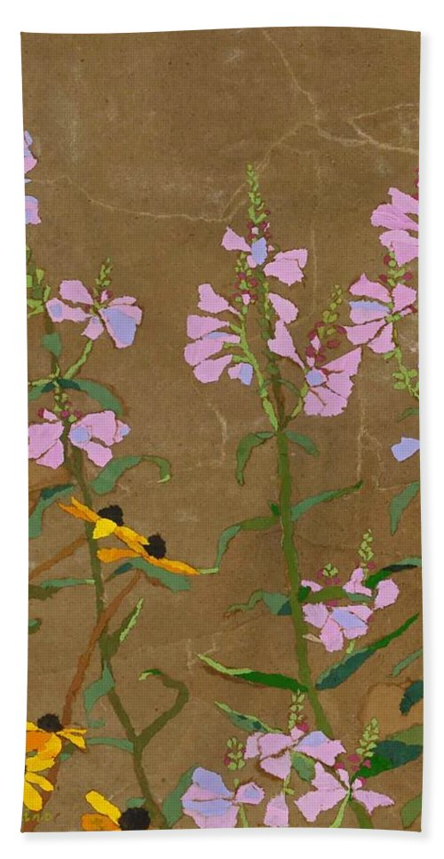 Floral Bath Sheet featuring the painting For Jack From Woodstock by Leah Tomaino