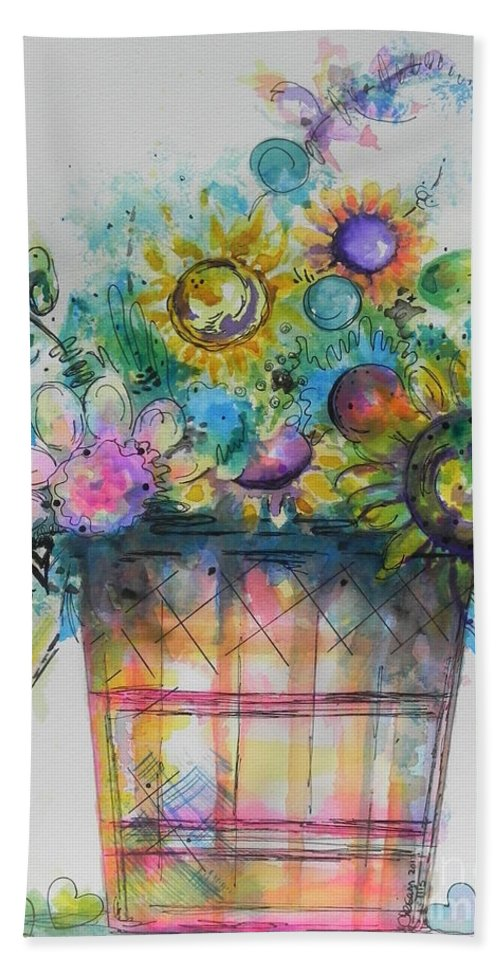 Watercolor And Ink Painting Bath Sheet featuring the painting For Sale by Chrisann Ellis