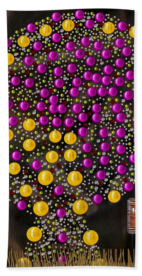 Tree Hand Towel featuring the mixed media Forbidden Fruit Pop Art by Pepita Selles