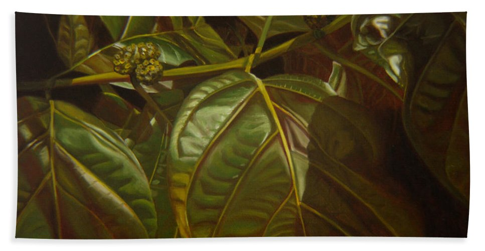 Tropical Plants Bath Sheet featuring the painting Forbidden Fruits by Thu Nguyen