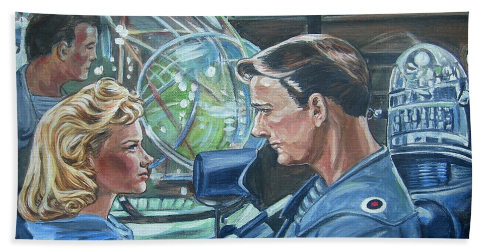 Forbidden Planet Hand Towel featuring the painting Forbidden Planet by Bryan Bustard