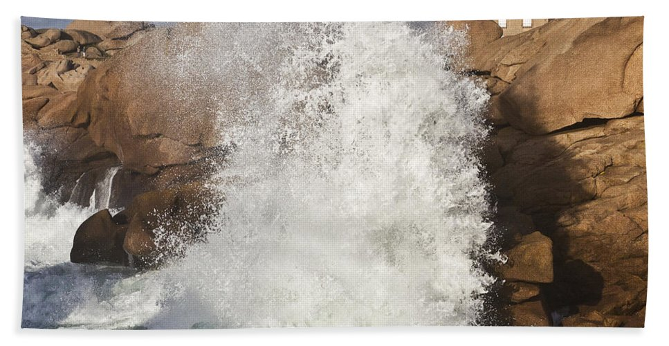 Heiko Bath Sheet featuring the photograph Force Of Breaking Waves by Heiko Koehrer-Wagner