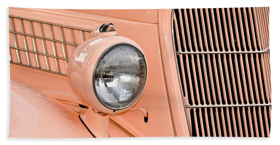 Automobile Bath Sheet featuring the photograph Ford Classic In Salmon by Carolyn Marshall