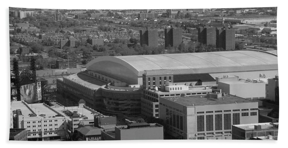 Ford Field Bath Sheet featuring the photograph Ford Field Bw by Crystal Hubbard