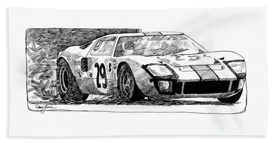 Automotive Hand Towel featuring the drawing Ford Gt - 40 by David Lloyd Glover