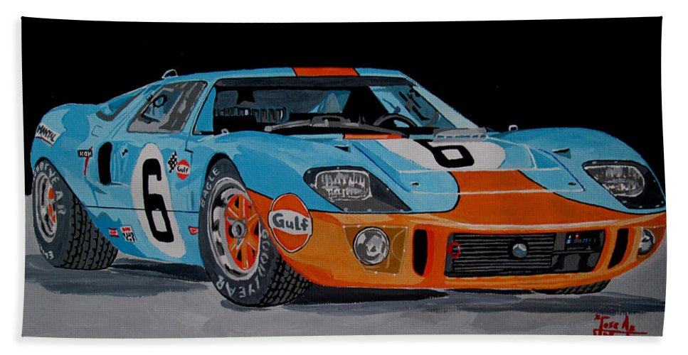 Ford Gt40 Hand Towel featuring the painting Ford Gt40 by Jose Mendez