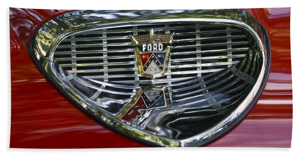 Ford Hand Towel featuring the photograph Ford Hood Emblem by Wes and Dotty Weber