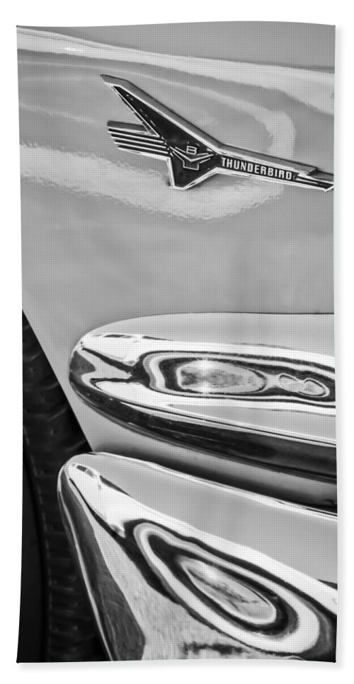 Ford Thunderbird Emblem Bath Sheet featuring the photograph Ford Thunderbird Emblem -0505bw by Jill Reger