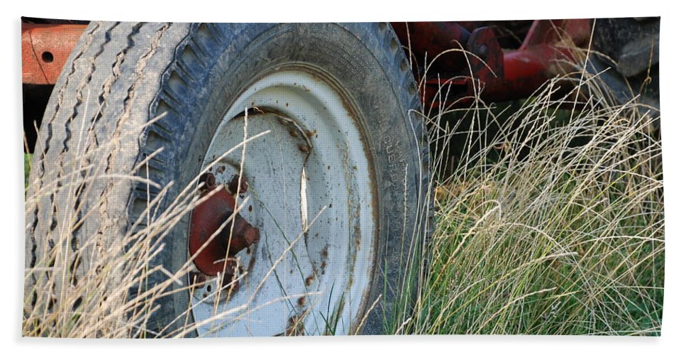 Ford Hand Towel featuring the photograph Ford Tractor Tire by Jennifer Ancker