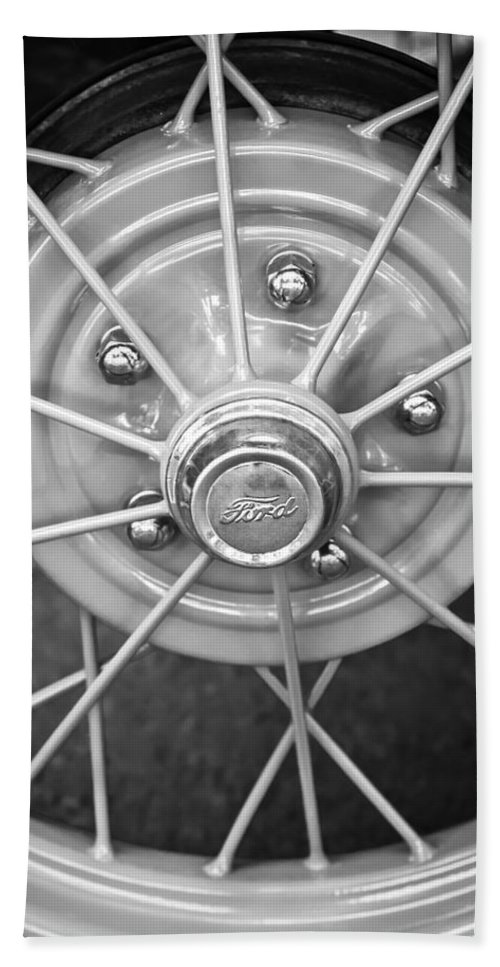 Ford Wheel Emblem Bath Sheet featuring the photograph Ford Wheel Emblem -354bw by Jill Reger