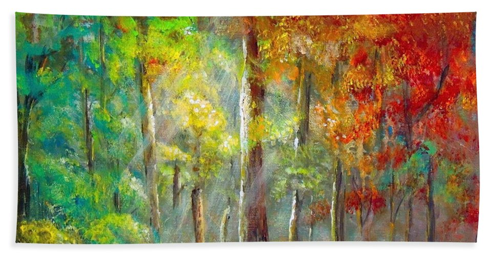 Forest Hand Towel featuring the painting Forest by Bozena Zajaczkowska