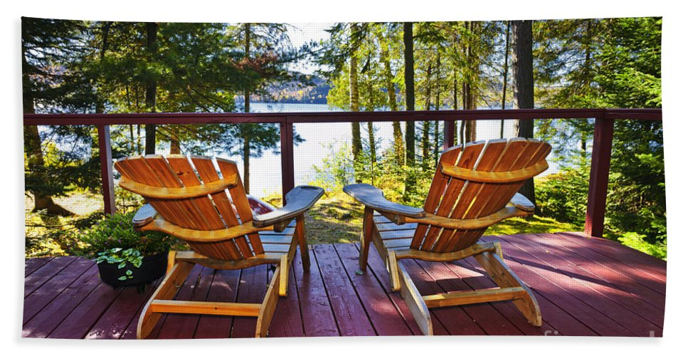 Deck Bath Sheet featuring the photograph Forest Cottage Deck And Chairs by Elena Elisseeva