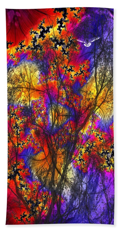 Forest Fire Bath Towel featuring the digital art Forest Fire by Lisa Yount
