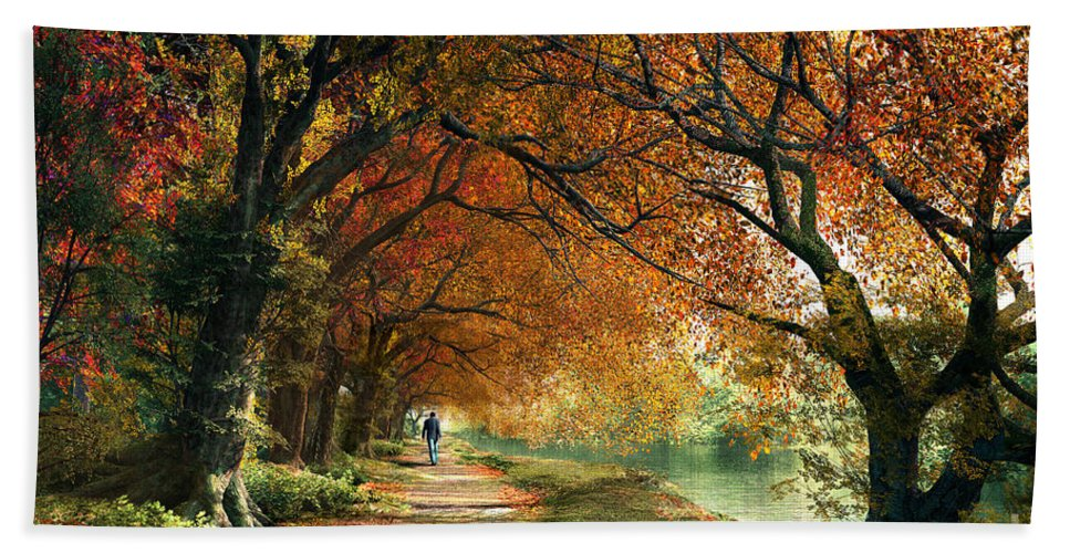 Autumn Bath Sheet featuring the digital art Forever Autumn by Dominic Davison
