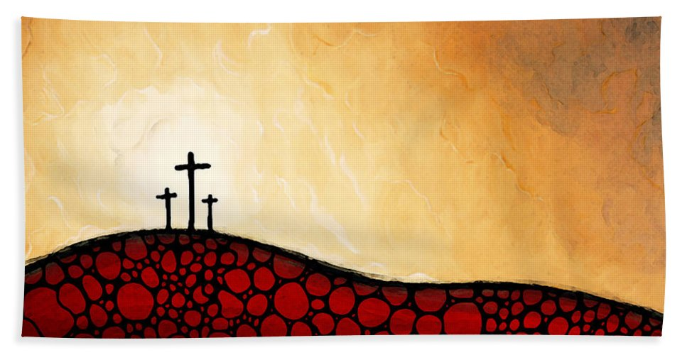 Christian Hand Towel featuring the painting Forgiven - Christian Art By Sharon Cummings by Sharon Cummings