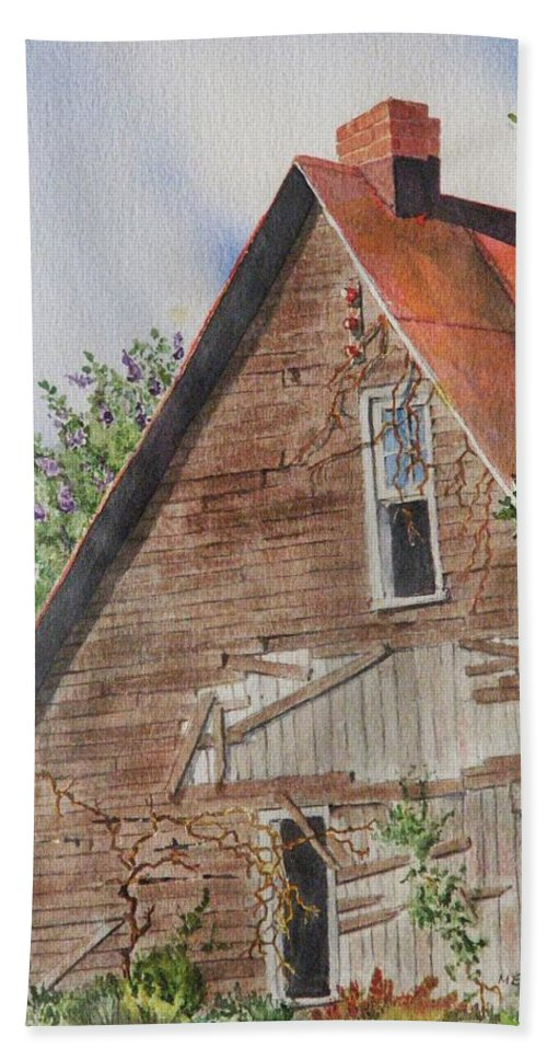 Farm Hand Towel featuring the painting Forgotten Dreams Of Old by Mary Ellen Mueller Legault