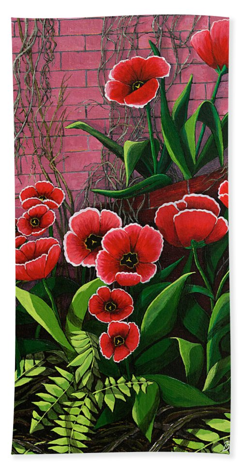 Flowers Hand Towel featuring the painting Forgotten Garden by Brigitte Meskey