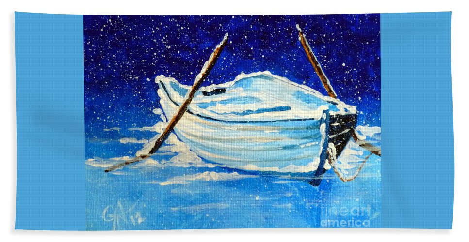 Row Bath Sheet featuring the painting Forgotten Rowboat by Jackie Carpenter