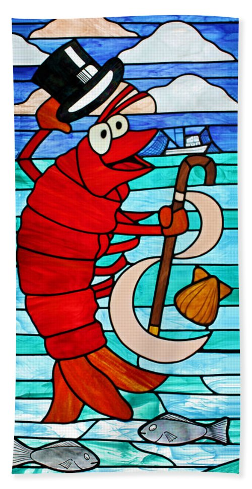 Stained Glass Bath Sheet featuring the photograph Formal Lobster by Kristin Elmquist