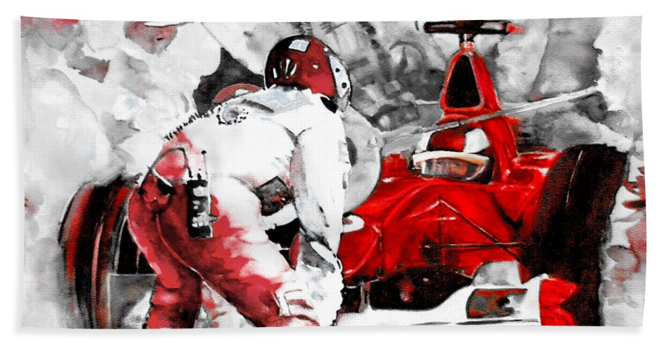 Sports Bath Sheet featuring the painting Formula 1 Bis by Miki De Goodaboom