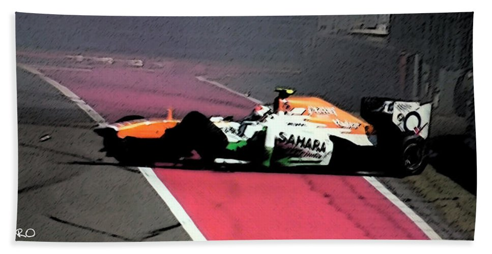 Formula 1 Hand Towel featuring the painting Formula 1 Grand Prix Crash by George Pedro