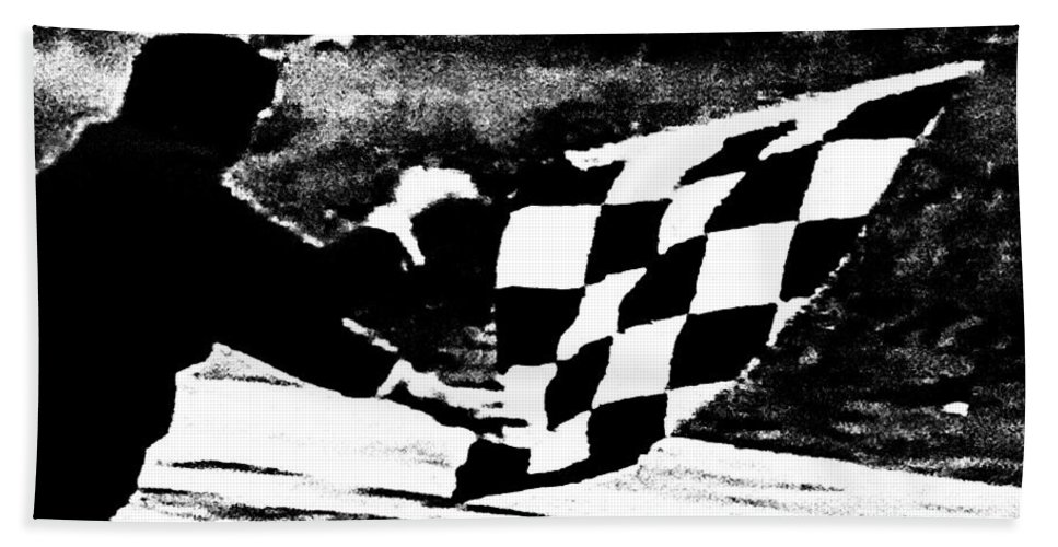 Formula 1 Racing Hand Towel featuring the photograph Formula 1 Vintage Checkered Flag by George Pedro
