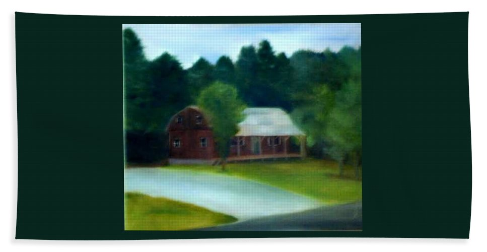 Upstate Bath Towel featuring the painting Forrest's House by Sheila Mashaw