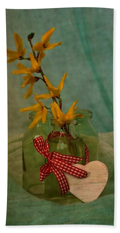 Forsythia Hand Towel featuring the photograph Forsythia Yellow Bells by Guna Andersone