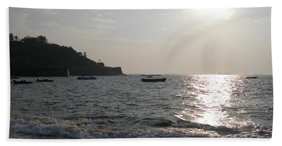 Goa Hand Towel featuring the photograph Fort Aguada Beach by Mini Arora
