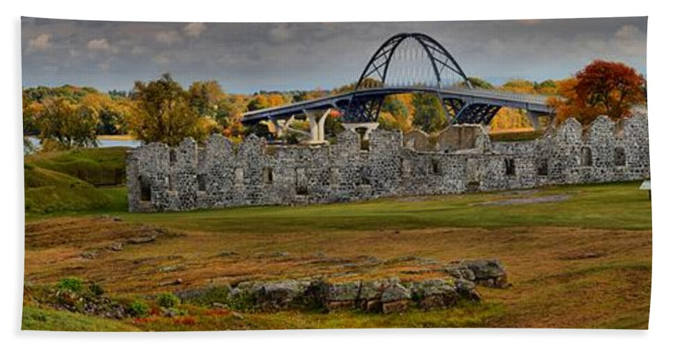 Fort Saint-frédéric Bath Sheet featuring the photograph Fort Crown Point At Lake Champlain by Adam Jewell