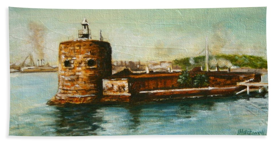 Sydney Bath Sheet featuring the painting Fort Denison 1930's - Pinchgut by Lyndsey Hatchwell