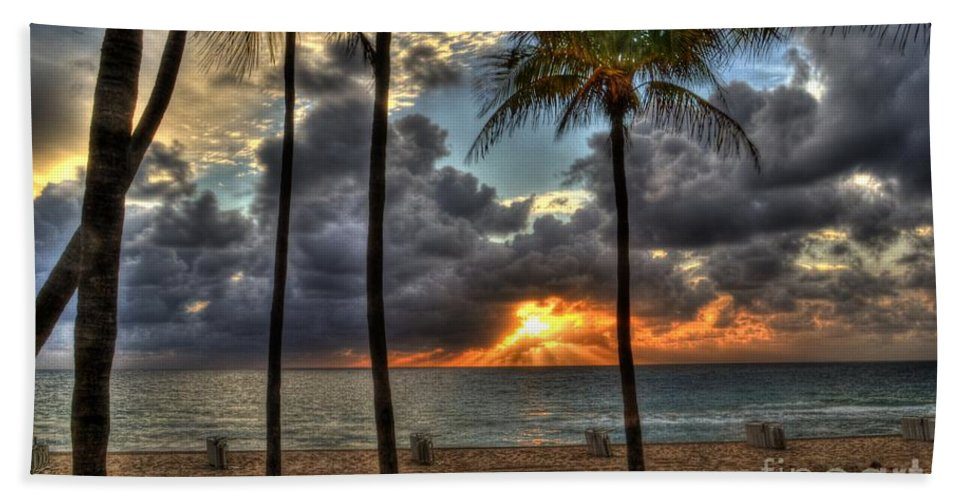 Fort Lauderdale Beach Bath Sheet featuring the photograph Fort Lauderdale Beach Florida - Sunrise by Timothy Lowry