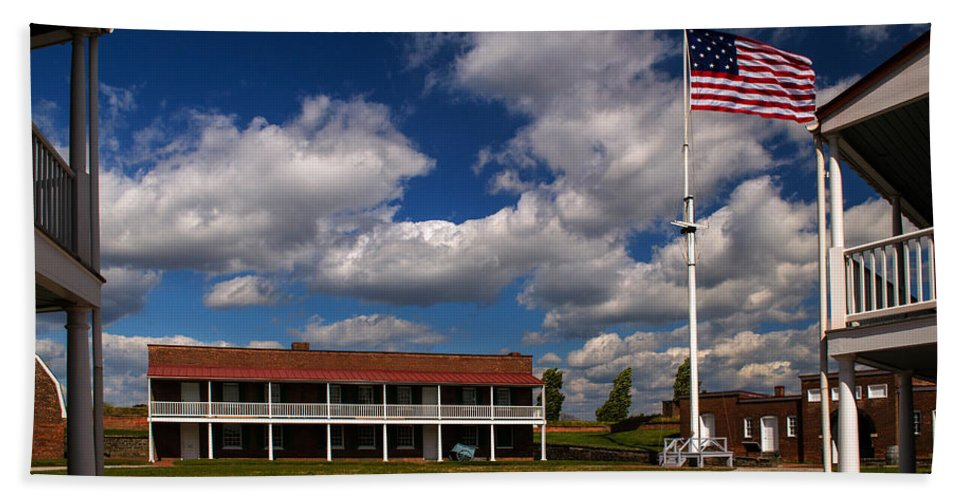 Fort Mchenry Bath Sheet featuring the photograph Fort Mchenry Parade Ground Barracks by Bill Swartwout Fine Art Photography