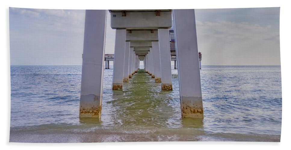 Pier Hand Towel featuring the photograph Fort Myers Beach Pier by Kim Hojnacki