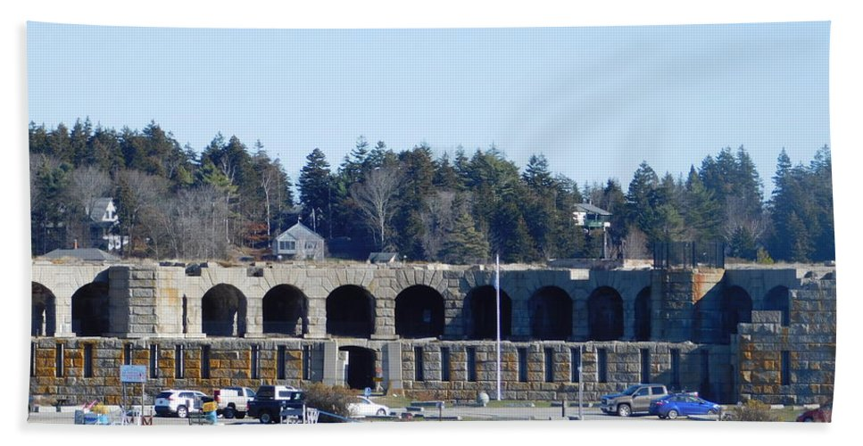 Fort Popham Hand Towel featuring the photograph Fort Popham In Maine by Catherine Gagne