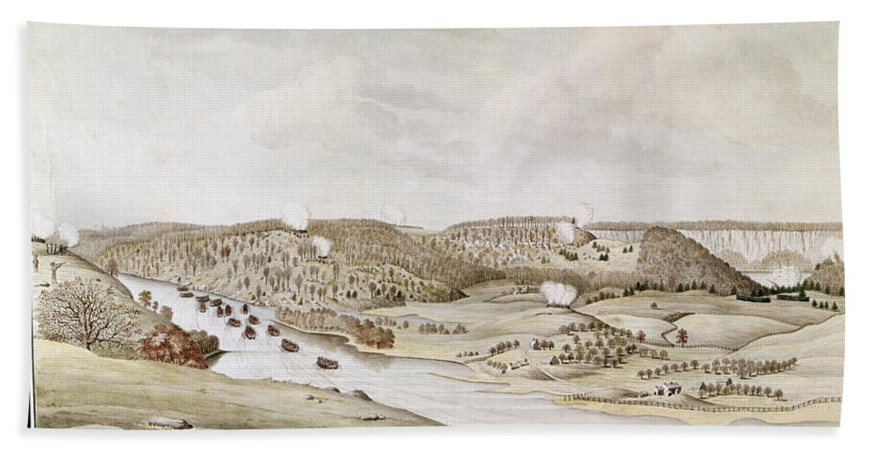 1776 Hand Towel featuring the photograph Fort Washington, 1776 by Granger