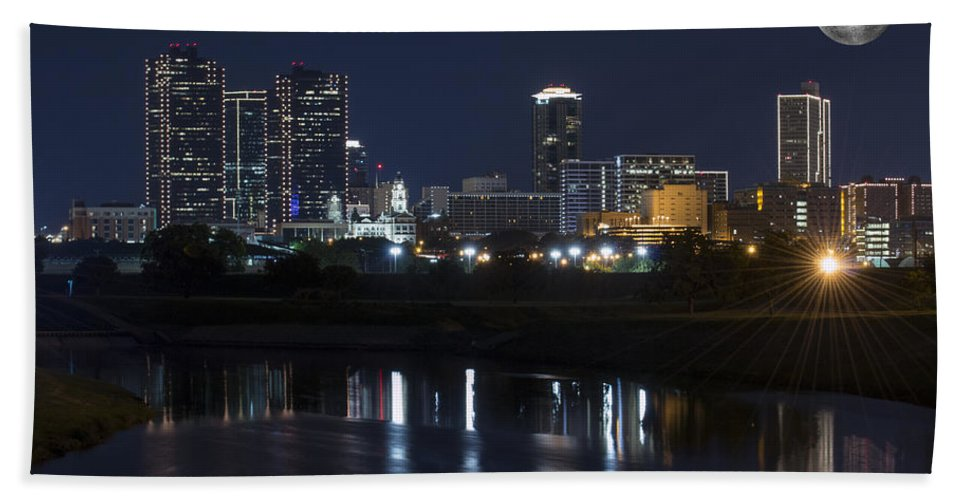 Fort Worth Skyline Hand Towel featuring the photograph Fort Worth Skyline Super Moon by Jonathan Davison