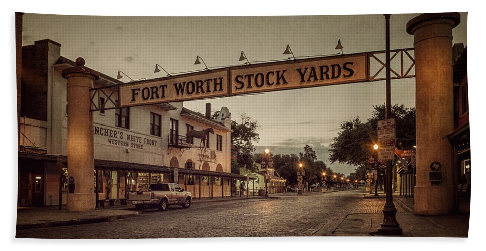 Joan Carroll Bath Towel featuring the photograph Fort Worth Stockyards by Joan Carroll