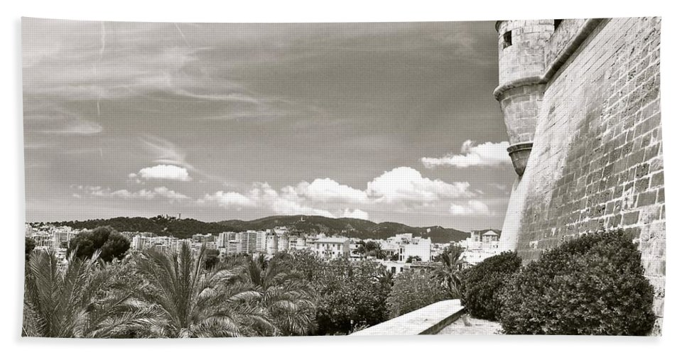Fortress Hand Towel featuring the photograph Fortress Overlooking Palma De Majorca by David Coleman
