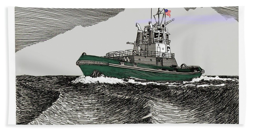 Foss Launch & Tow Introduces The Tractor Tug Hand Towel featuring the drawing Foss Tractor Tugboat by Jack Pumphrey