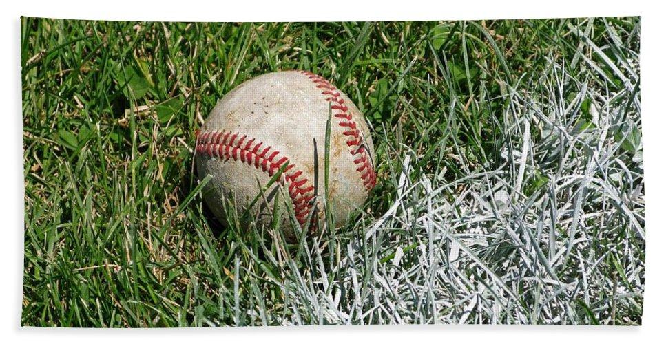Baseball Bath Sheet featuring the photograph Foul Ball by Ann Horn