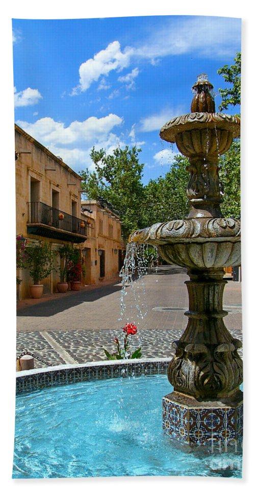 Tlaquepaque Bath Sheet featuring the photograph Fountain At Tlaquepaque Arts And Crafts Village Sedona Arizona by Amy Cicconi