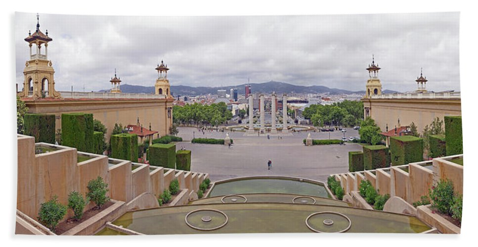 Photography Bath Sheet featuring the photograph Four Columns And Magic Fountain by Panoramic Images