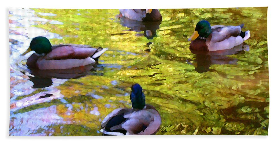 Landscape Hand Towel featuring the painting Four Ducks On Pond by Amy Vangsgard