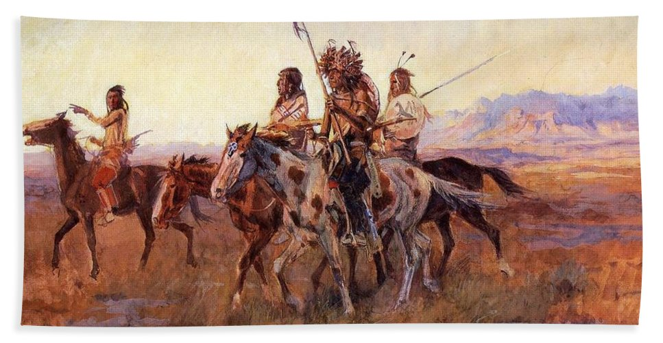 Charles Russell Hand Towel featuring the digital art Four Mounted Indians by Charles Russell
