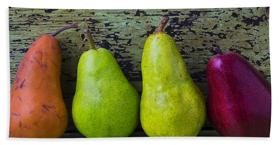 Four Bath Sheet featuring the photograph Four Pears by Garry Gay